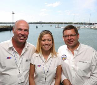 Frank and Jo Dixie of PSP and chairman of National Boat Shows Paul Strzelecki.